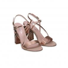 Sandalo mignon laminato rosegold tacco 90 Pitone rosa