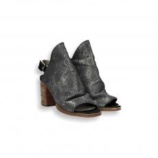 Sandalo fascione pelle stampa laminato piombo T 80 mm.