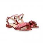 Sandalo fiori pelle laminata rosa T 20 mm.