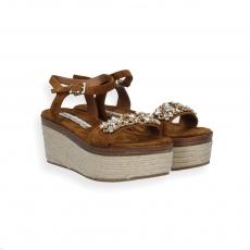Sandalo fascia camoscio bruciato pietre gioiello zeppa corda f.do gomma