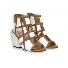 Sandalo quadri nappa bianco e cuoio T 70 m. fondo cuoio