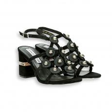 Sandalo gabbia camoscio nero e borchie T 70 mm. fondo cuoio