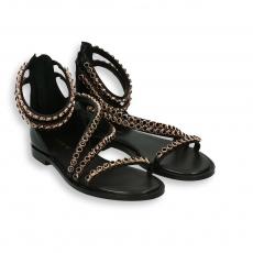 Sandalo swarovski mignon nero fondo cuoio