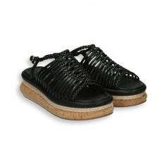 Sandalo listini pelle nero zeppa 30 sughero