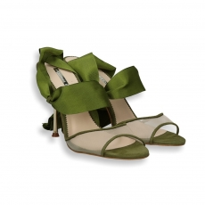 Sandalo camoscio e rete laccio grossgrain verde tacco oro 90 mm.