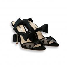 Sandalo camoscio e rete pois laccio grossgrain nero tacco oro 90 mm.
