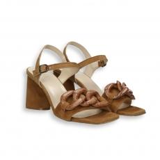 Sandalo catena camoscio cuoio T 70 mm. fondo cuoio