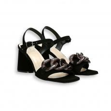 Sandalo catena camoscio nero T 70 mm. fondo cuoio
