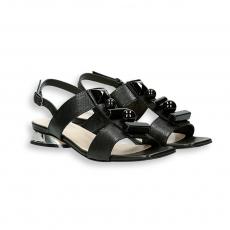 Sandalo pelle e pietre tacco specchio T 20 mm.