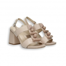 Sandalo pelle avorio e pietre T 70 mm. fondo cuoio