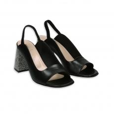 Sandalo pelle nero con tacco 80 bianco e nero