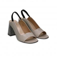 Sandalo pelle ecru con tacco 80 bianco e nero