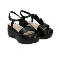 Sandalo zeppa con smalti pelle nero tacco 40