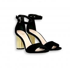 Sandalo cinturino camoscio nero tacco oro 90 mm. fondo cuoio