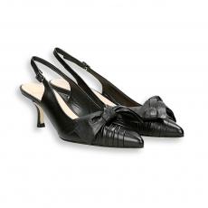 Chanel sfilato e fiocco capretto nero T 50 mm. fondo cuoio