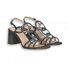 Sandalo alamari lurex acciaio T 70 mm. fondo cuoio