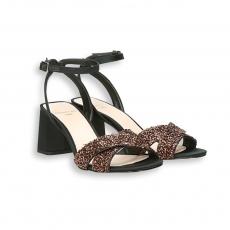 Sandalo incrociato rado nero e paillette rame T 70 mmfondo cuoio