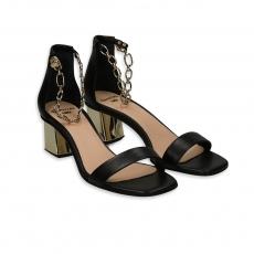 Sandalo cinturino catena nappa nero tacco 50 oro