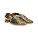 Chanel sfilato pelle laminata intreccio bronzo T 10 mm. suola cuoio
