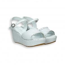 Sandalo pelle intrecciata bianco zeppa 60 mm. fondo gomma