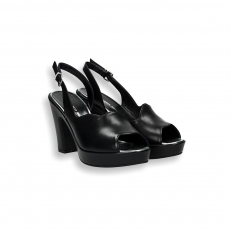 Sandalo onda pelle nero plateau heel 80 mm.