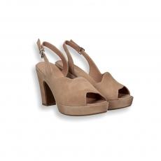 Sandalo onda camoscio sabbia plateau heel 80 mm.