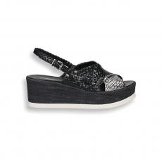 Sandalo pelle intrecciata nero/argento zeppa 60 mm.