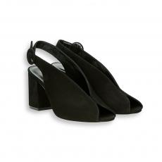 Sandalo taglio camoscio nero T 60 mm. fondo cuoio