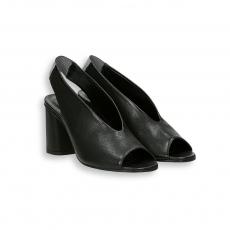 Sandalo capretto nero T 60 mm fondo cuoio