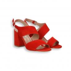 Sandalo fasce oblique cinturino camoscio rosso T 60 mm.
