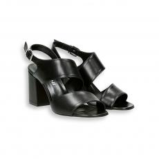 Sandalo fasce oblique cinturino nappa nero T 60 mm.