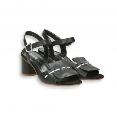 Sandalo capretto nero patta con impunture bianca T 50 mm.