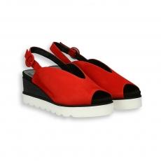 Sandalo zeppa camoscio rosso e nero T 40 mm. fondo gomma