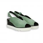 Sandalo zeppa camoscio verde e nero T 40 mm. fondo gomma