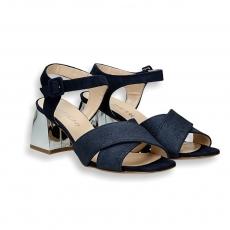 Sandalo incrocio cinturino lurex e camoscio blu tacco specchio 60 mm.