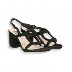 Sandalo oblo' intreccio camoscio nero T 60 mm. fondo cuoio