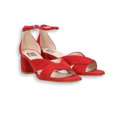 Sandalo incrociato camoscio rosso T 50 mm. fondo cuoio