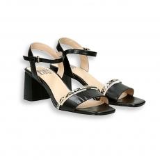Sandalo 2 fasce pelle nero e pitone T 50 mm.