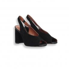 Sandalo camoscio nero T 70 mm. suola cuoio