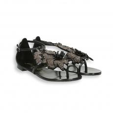 Sandalo infradito fiore camoscio nero fondo 10 mm. cuoio