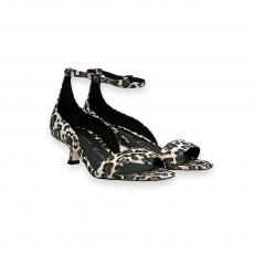 Sandalo tallone cinturino camoscio stampa leopardo T 30 mm.