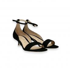 Sandalo tallone cinturino camoscio nero T 30 mm.
