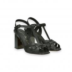 Sandalo cestino pelle nero T 70 mm.