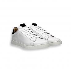 Sneaker pelle bianco e dettaglio camoscio nero f.do gomma