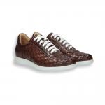 Sneaker pelle intrecciata brandy fondo gomma