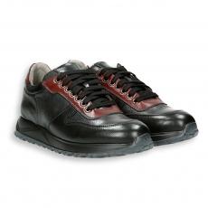 Sneaker vitello nero , rosso e grigio fondo gomma
