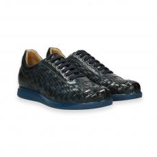 Sneaker vitello intrecciato blu fondo gomma