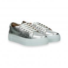 Sneaker bassa laminato argento fondo gomma