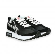 Sneaker Kiss camoscio e nylon nero stella argento