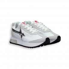 Sneaker nylon bianco e stella laminato argento fondo gomma